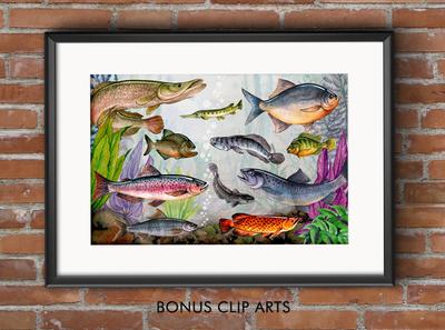 Watercolor Amazon Fishing