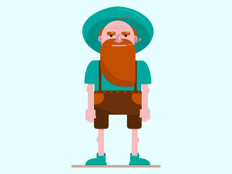 Farmer grandfather beard farmer vector flat illustration character