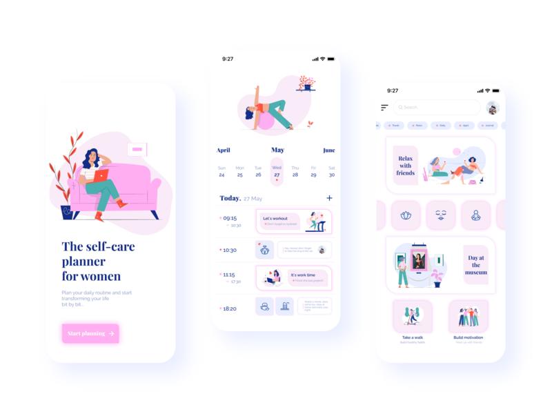 Self-care planner for women 👱🏻♀️✨ uidesign women planner mobile app mobile illustration ecommerce uiuxdesign uiux ui design concept calendar branding app design app