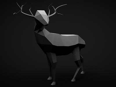 3D low-polygon deer 3d cinema 4d polygons animal deer