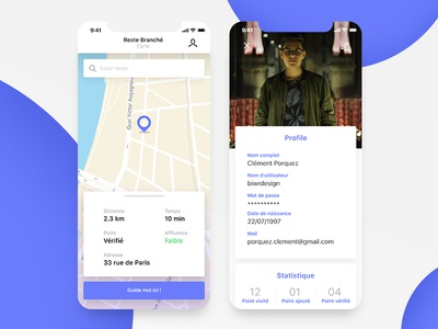 Map and specific point details page screen app mobile experience adobe xd ux ui purple flat profile map