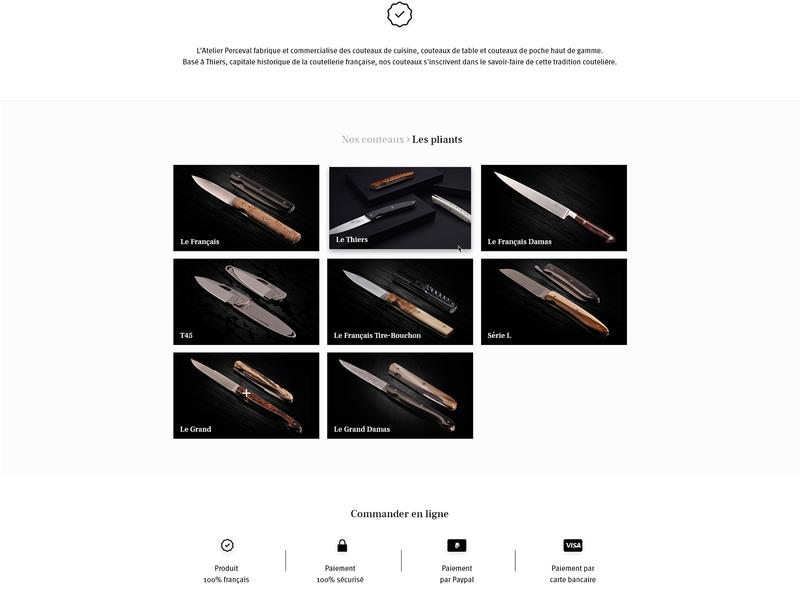 Product selection knife selection products black  white webdesign web website design adobe xd interface flat ux ui