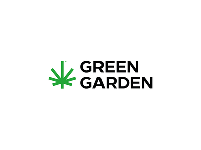 Green Garden clean simple cannabis illustrator typography vector design branding flat logo