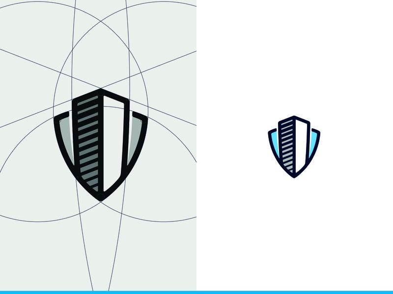 Access Control buildings building shield branding construction shapes bleu logotype logo