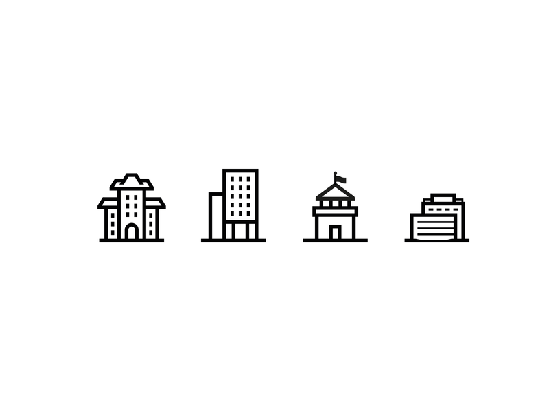 Buildings illustration design adobe illustrator flat buildings elements vector illustration