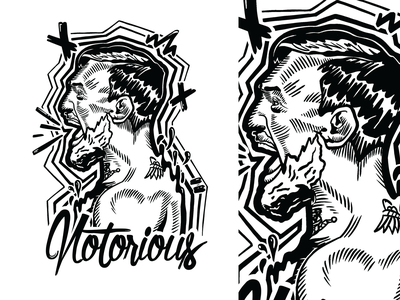 Notorious mma graffity freestyle black and white illustration minimalistic simple design
