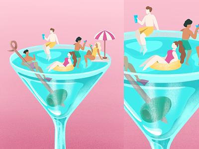Malibu vibe summer vector malibu beach ocean pink illustration minimalistic simple
