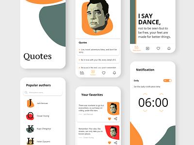 Quote app illustration colorful app design font app ui minimalistic simple design simple design