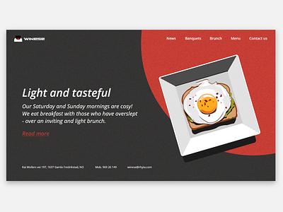 Restaurant landing page food website food vector illustration dark ui web minimalistic simple design simple design