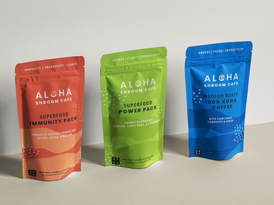 Aloha Shroom Cafe branding and packaging tea coffee packaging logo design branding