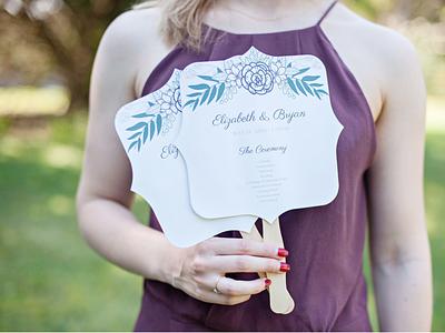 Wedding Program Fans floral fan program wedding