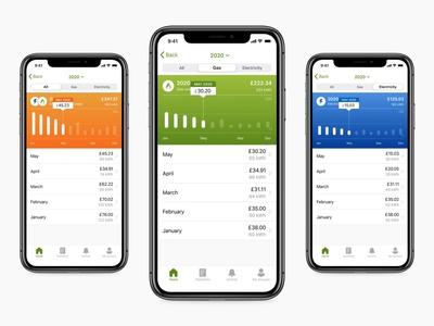 Energy Usage Screen user experience design ux  ui utility utilities smart meter smart home iot ios application ios app design data visualisation renewable green energy sustainable power energy chart graph usage ios app design
