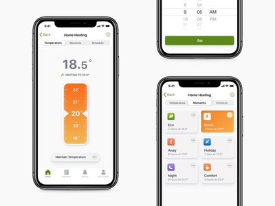 Smart Thermostat ui ux supplier utility utilities app ui iot ios application ios app design ios schedule heating presets smarthome smart home smart heating thermostat green energy energy app design