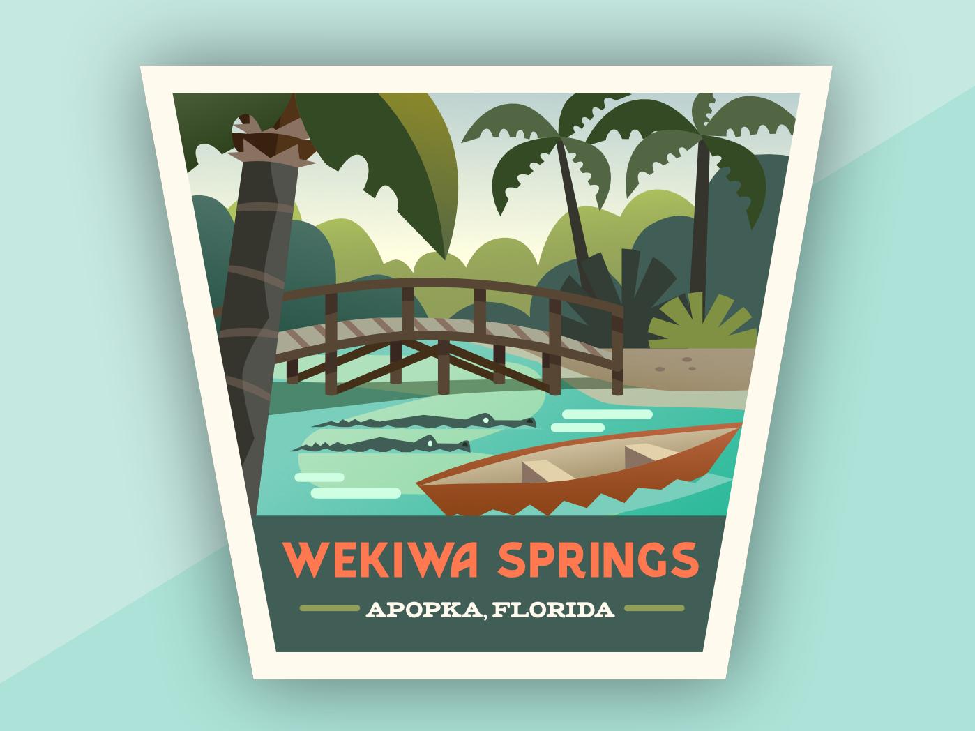 Wekiwa Springs icon branding design vector affinity designer illustration apopka florida wekiwa wekiwa springs