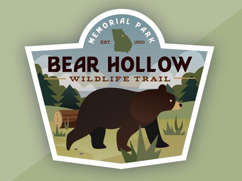 Bear Hollow design logo icon affinity designer sticker wildlife bear vector illustration georgia athens