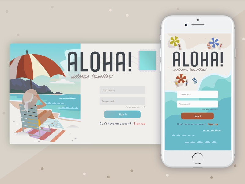 Aloha! Login ux design affinity designer illustration ui design vector summer sand desktop mobile ocean login page login ui aloha