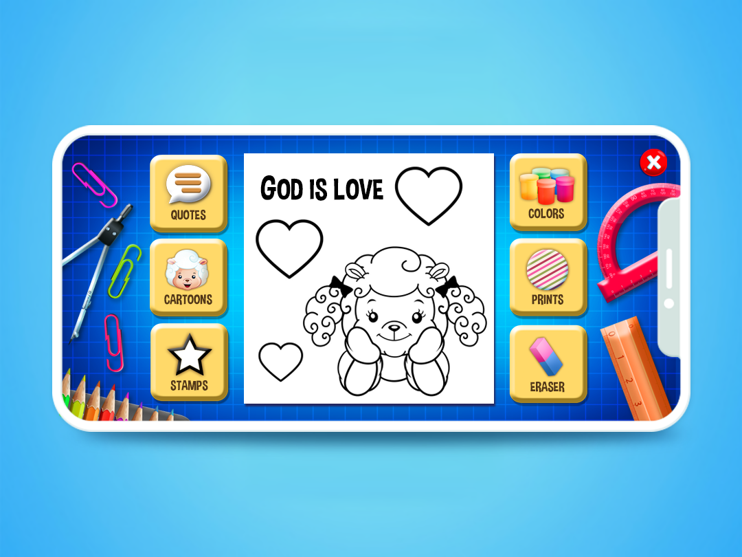 Create and paint your card! custom lovely design card biblical bible sheep jesus christ jesus ios game fun cute creative art apple app android