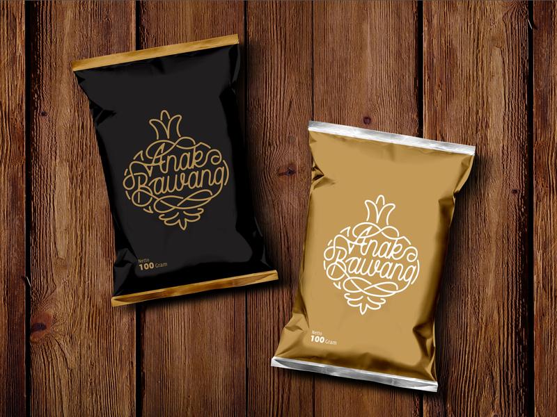 "Premium Snack Logo ""Anak Bawang"" snackbar beverages pattern lettering classic logo snacks food logo packaging monoline pouch design pack snack logo vintage snack"