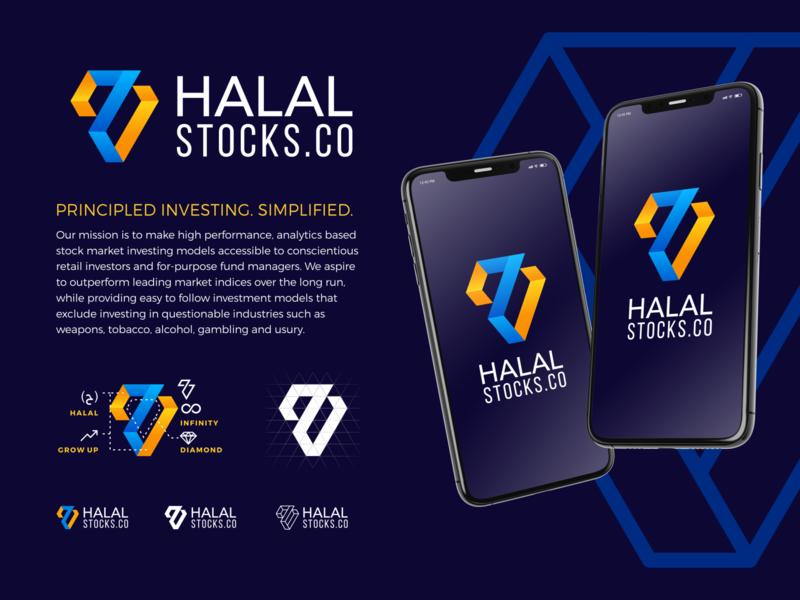 Sharia Investment Startup - Halal Stocks stocks halal islamic logo islamic kufic design arabic typography logo design mobile app startup logo startup diamond geometric investment app investing kufi logo arabic logo calligraphy investment