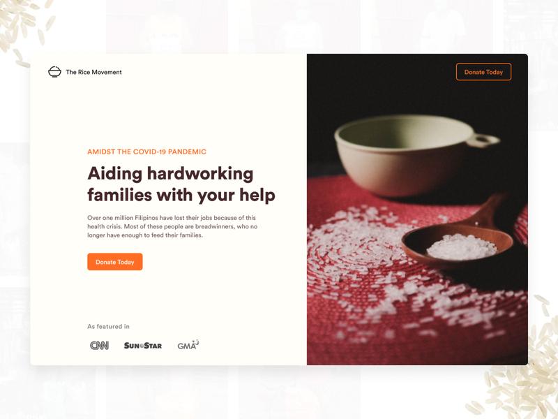 Rice Movement covid19 challenge coronavirus landingpage nonprofit web ui webflow