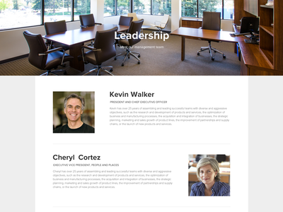 Company Leadership Page leadership about us