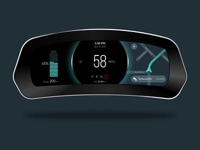 Gauge Cluster Concept speedometer navigation electric car dashboad daily ui challenge concepts ux automotive gauges ui