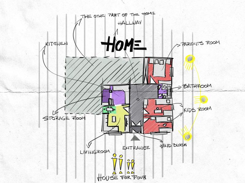 Home wacom design artist architechture plan living house home architect