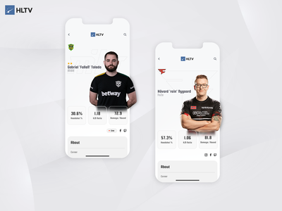 HLTV app mibr faze hltv esport csgo interface product design mobile ui ux mobile ui concept ui design application app design