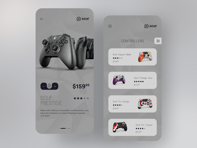 Scuf App Concept branding prestige esports gaming controller scuf interface ui ui design mobile ui ux product design app application concept design