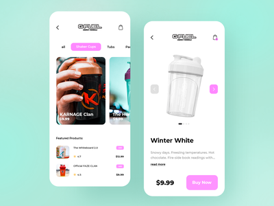 Gfuel App Concept energy drink cups shaker white winter ux ui design ui product design mobile ui interface gaming esports design gfuel concept branding application app