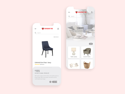 Canadian Tire app color creative clean minimal store lamps chair canvas tire branding ui ux product design mobile ui mobile design concept application app