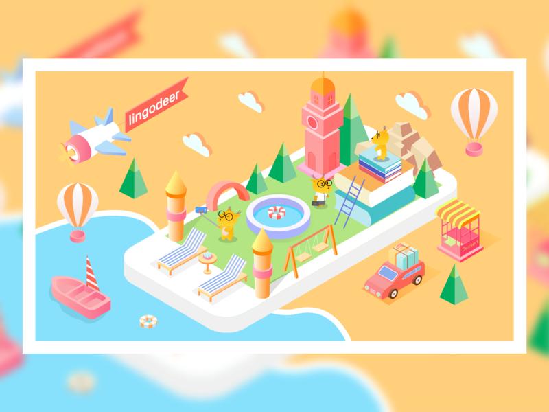 Deer Holiday 2.5d website app design ui illustration