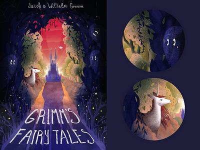 Grimm's Fairy Tales Illustration mystical ghost editorial art unicorn poster art digitalart cover art art graphics kids castle mystery mythical forest book cover fairly tales grimms illustration illustrations