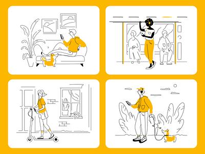 Illustration for Books Mobile App music audio books to go apps underground scooter dog corgi branding website character digitalart 2d art illustrator application mobile homepage vector illustrations