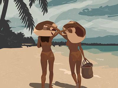 Girls on the Beach booty bikini summer woman girl abobe illustrator clouds palm sea hat beach poster poster art character digitalart 2d art vector illustration illustrations illustrator