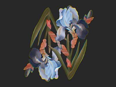 Iris procreate pattern botanical botanical illustration flowers plants flower iris