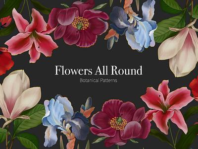 Flower Cover procreate raster art postcard background leaves vine plants iris magnolia lilies peonies cover design cover art illustration flora botanical art flowers