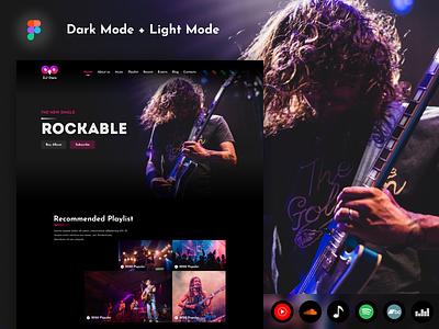 Rockable - Music & Band Web Template business music and band landing page light mode dard mode web template band music
