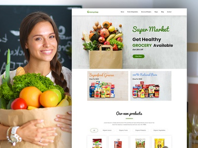 Greenyshop - Grocery Shop and Super Market Landing Page psd templates psd template
