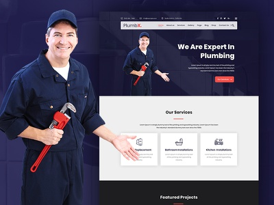 PlumbX - Plumber and Repair Services PSD Template psd templates