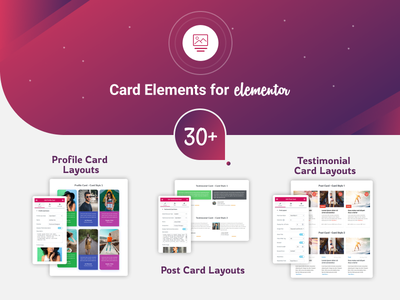 Card Elements for Elementor elementor addon testimonial card profile card post card card elements