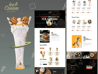 Ice Cream Gourmet Shop Web Template pastry shop ice cream parlour food store cake store winter food shop cake shop ice cream