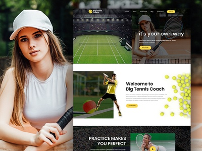 Big tennis Coach - Landing page PSD Template