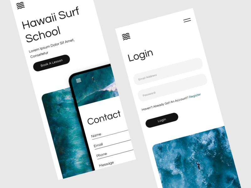 Hawaii Surf School Mobile Concept surfing surf hawaii app mobile website ux ui idea adobe xd design concept