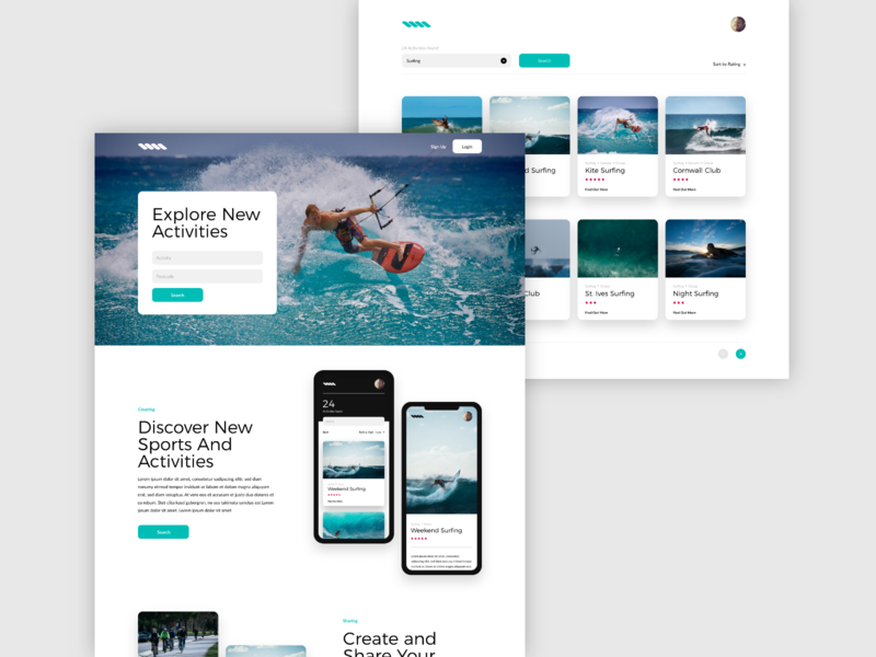 Sport Search Site Concept searching search results flat web activity sport search website ui ux idea adobe xd design concept