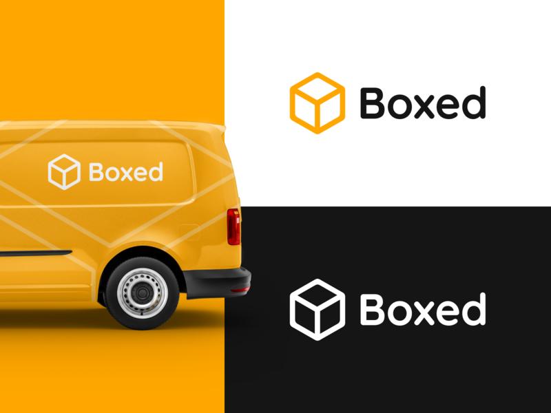 Boxed Delivery Logo Concept minimal flat mockup delivery logo delivery truck delivery van delivery design icon typography vector logo branding concept