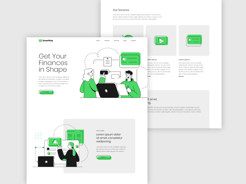 Smart Pay Website Concept finance pay payment flat icon typography illustration website ui ux adobe xd design concept