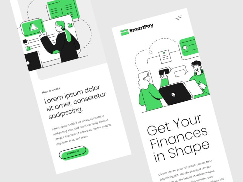 Smart Pay Mobile Website Concept illustration flat mobile web website ui ux adobe xd design concept