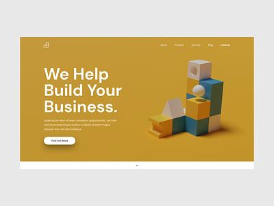 Building Blocks Website Concept building blocks business render flat web website idea ui ux adobe xd design concept