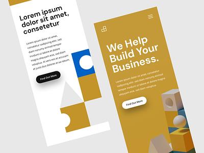 Building Blocks Mobile Concept business render blender 3d adobe xd flat mobile website idea ux ui design concept